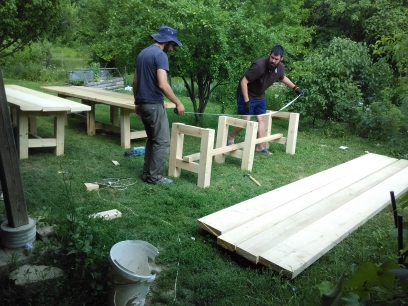 Filipe and Alex making tables
