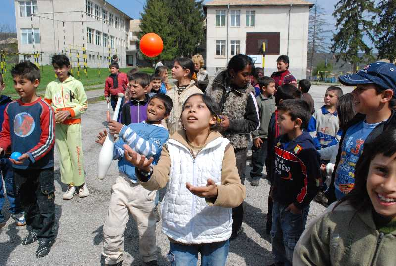 a juggling workshop at the village school
